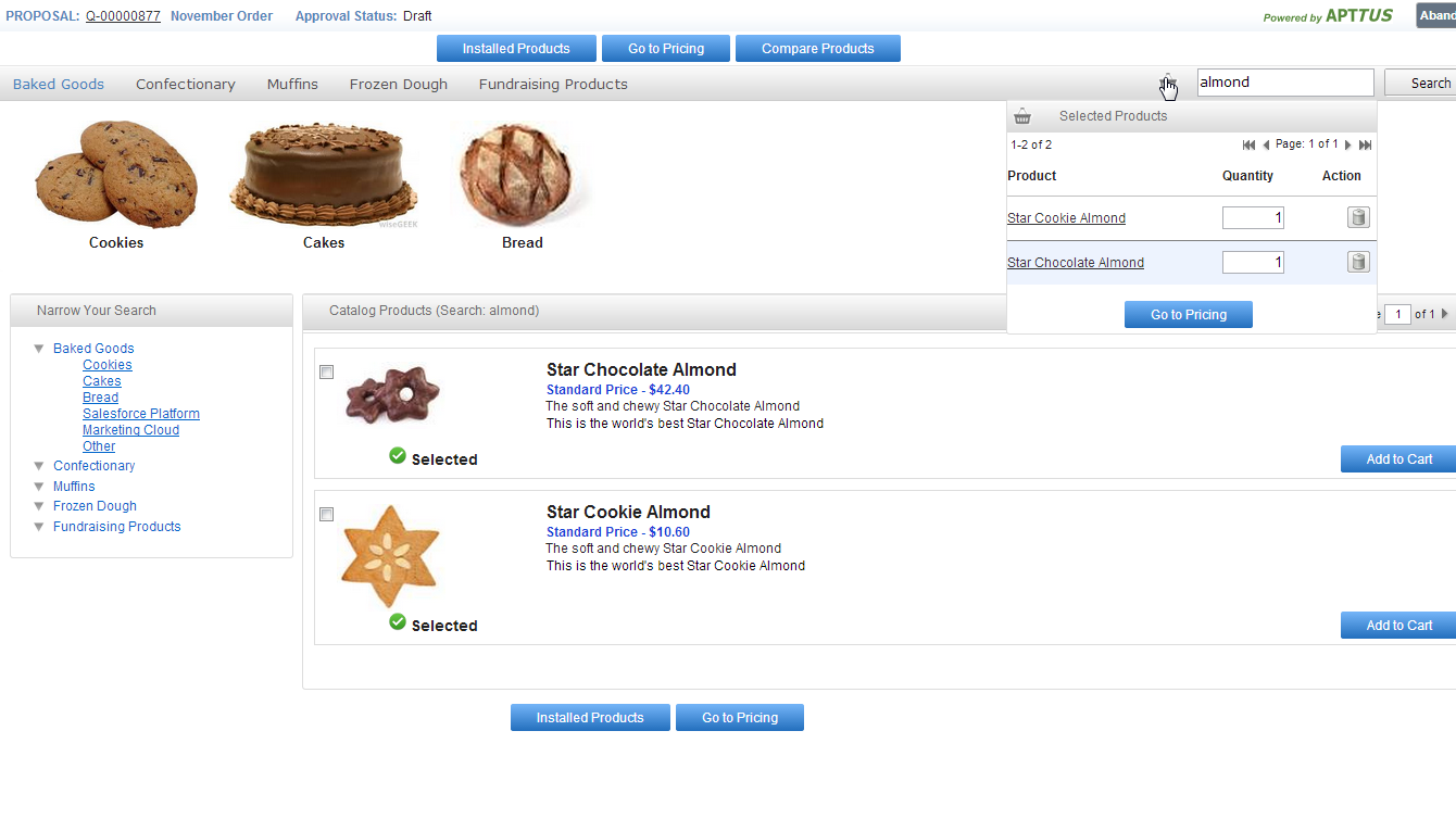 Since the product catalog is embedded into the system, clicking on the proposal button will bring up a set of categories: cookies, cakes and breads (see screenshot below).