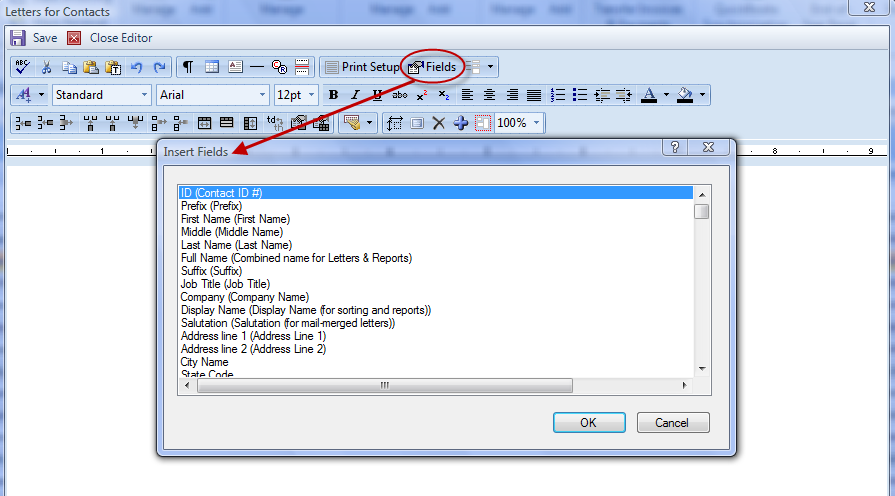 2. The Letters for Contacts screen will display. Select the Edit Document button. Figure 105: Letters for Contacts Screen Edit Document 3. Results word processor will open the selected file. 4.