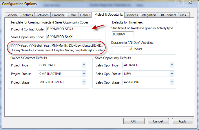 Figure 114: Configuration Options Screen Project & Contract Code 4. Click Apply.