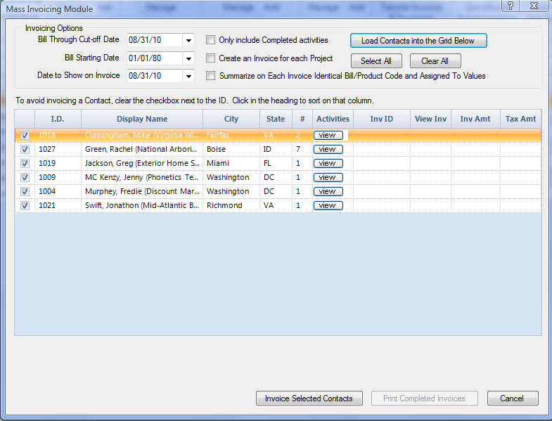 Figure 126: Mass Invoicing Module with Contacts Displayed in Grid 6. To view the activities before the invoice is created, push the View button associated with each record. 7.