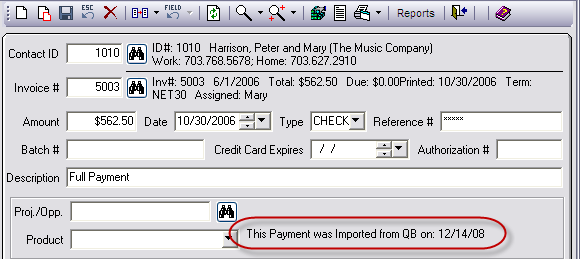 Note: Payment records will show QuickBooks Import and Export dates as