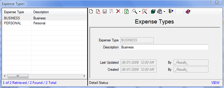 Figure 137: Expense Types Screen 3. Fill out the Expense Type and Description fields. 4. Click the Save icon to save the record. How to Add an Expense: From the Expense Data Management Center: 1.