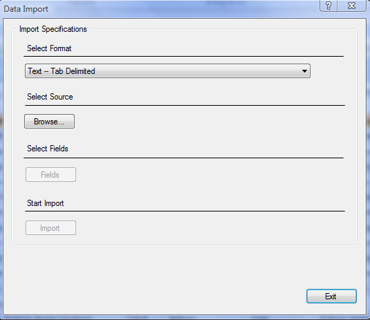 Figure 186: Data Import Screen 2. Select a format for the file you are about to import. Note: Only Text/ASCII imports are supported with Results Enterprise Edition 3.