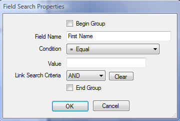 The Named Search screen is divided into two sections: The Table & Field List: Shows all the relational tables that apply to this Data Center and their associated searchable fields.