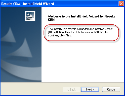 Figure 5: Results CRM Installation Wizard 4. Click Next. The following screen will ask where you wish to install the Results Data files.