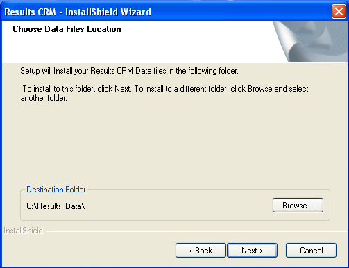 Figure 6: Results CRM Installation Wizard Choose File Location 5. Click Next. The update process will start. Once the update process is completed, click Finish. 6. Open Results and verify that you are running the latest version.