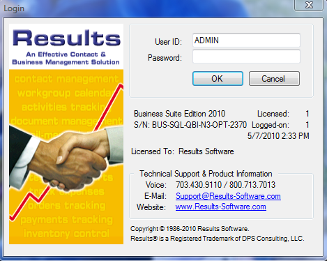 System Overview Accessing Results When Results CRM is installed, two icons will appear on your desktop.