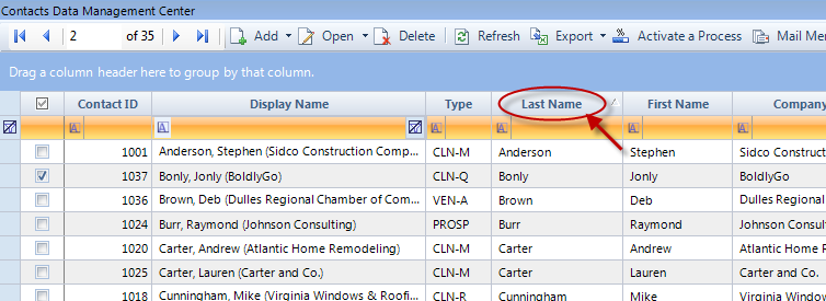 Figure 11: DMC Sorted by Last Name Adjusting the Columns in the DMC: Each user can customize the width and location of DMC columns.