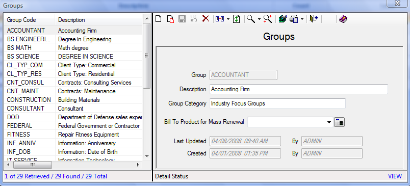 Figure 25: Groups Screen 3. Fill out the Group, Description, and Group Category fields. If this is an entry for Mass Renewal, select a Bill to Product. 4. Click the Save icon to save the record.