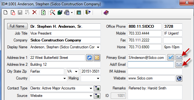 Figure 30: Contact Screen Showing Email Icons 3. Based on your Configuration Options, a Results or Outlook email will appear. (Refer to the Email Options and setup for additional details.) 4.