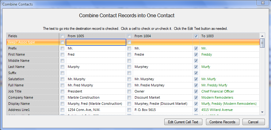 Figure 33: Combine Contacts Screen 7. Review the information displaying for the other contacts.