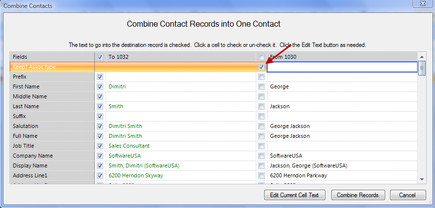 Figure 36: Combine Contacts Combine Records as Associates 8. Next to the checkbox in the second row, type in the Associate Type. 9. Click the Combine Records button.