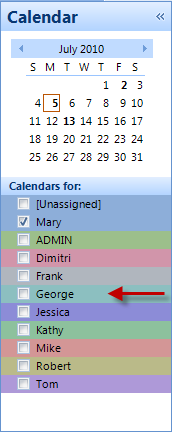 Figure 45: Calendar Calendar User Selection To Schedule an Activity for Another User: Option 1: From the Main Menu 1. On the Calendar & Activities tab, in the Activities group, click Add.