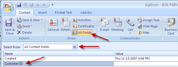 Importing Contacts as Associate Records: 1. In Outlook, open the Contact record you would like to import into Results. 2. Select All Fields from the main menu.