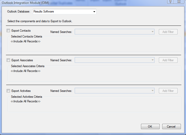 Figure 52: Outlook Integration Screen 2. Select the Outlook Database into which you wish to import the records. 3.