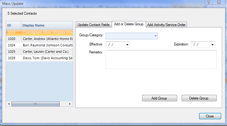 Figure 55: Contacts DMC with Records Selected for Mass Update Screen 2. Select the Mass Update button. 3. Navigate to the Add or Delete A Group tab.