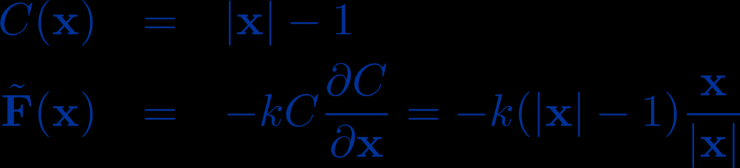 Example 2D pendulum mass point at distance to the origin penalty force corresponds to a spring force