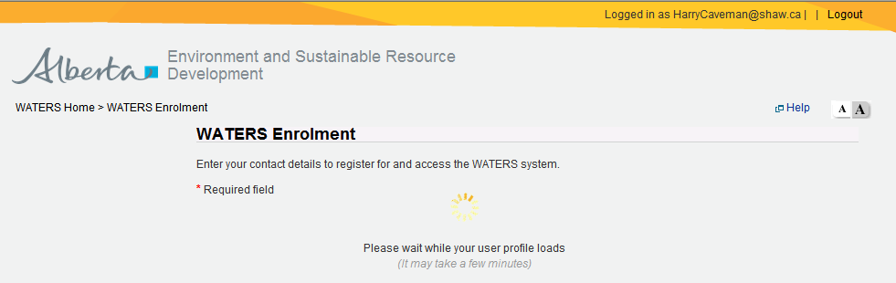 Part 2: Log in using your existing account This screen will be the normal point of access for the WATERS application. Sign in with your new credentials.