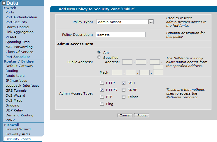 Remote Access 3 of 4 Data Firewall Security Zones Public Add Policy to Zone Public Remote