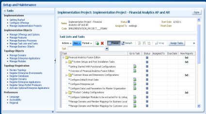 track and manage implementation projects and their required functional setup steps.