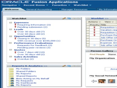 Analytics in Fusion Application Embedded Analytics Individual BI reports in transactional screens Entire BI Dashboard as tab on Fusion Page Navigator / Main Menu Menu link to launch
