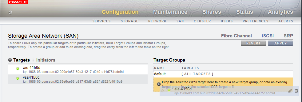 Figure 7. Adding the new iscsi target to a new target group 8.