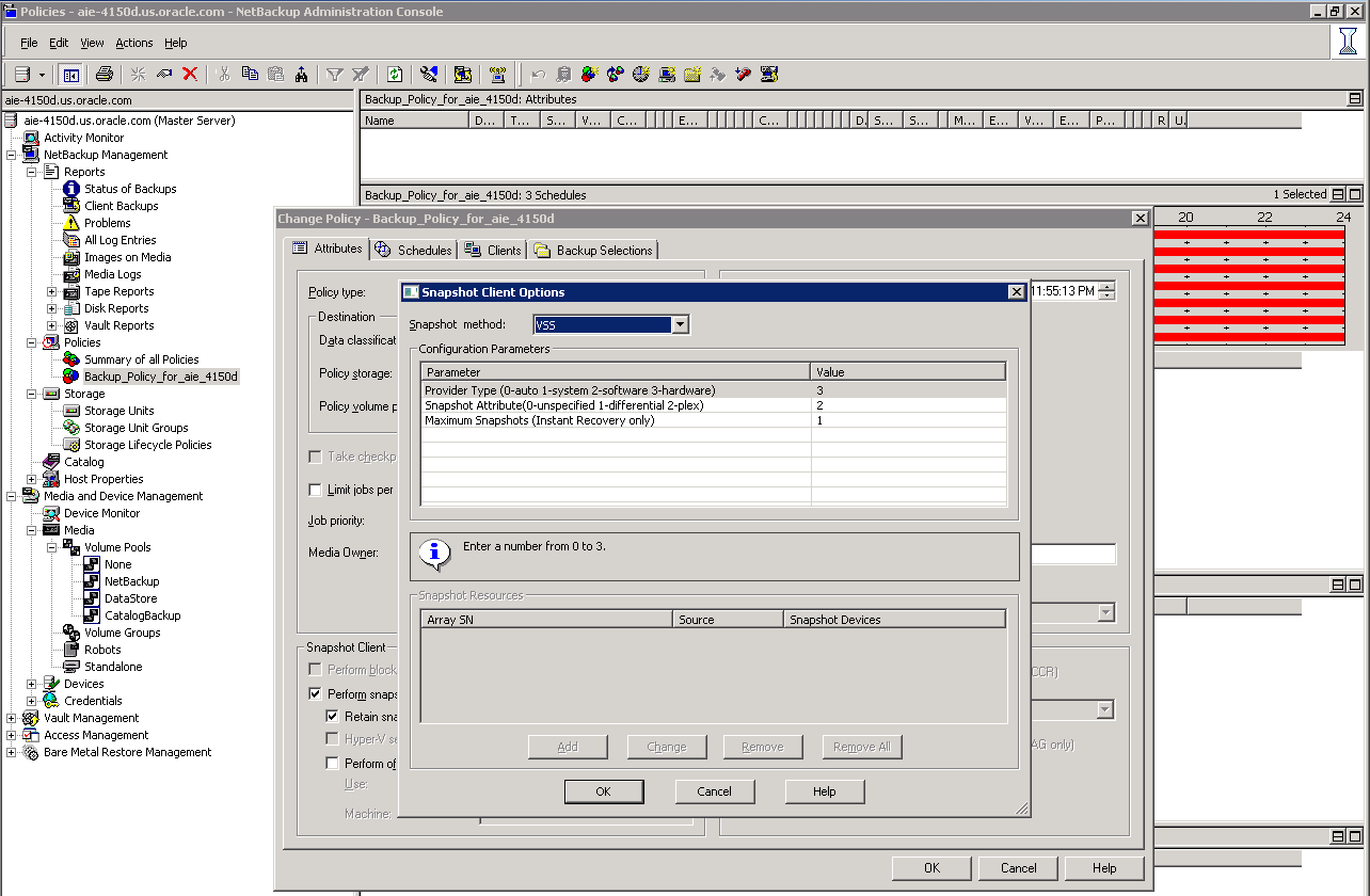 3. Click Snapshot Client Options to display the dialog window shown in Figure 16. 4.