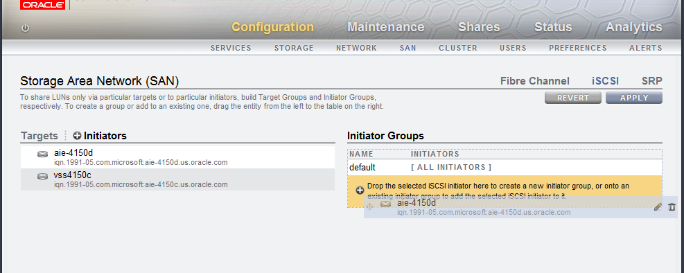 Add the new initiator to an initiator group by dragging and dropping it to the bottom of the iscsi Initiator Groups list to create a new group as shown in Figure 4 Figure 4.