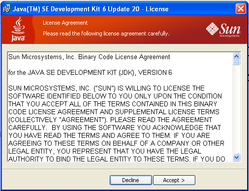 Part 5 - Installing JDK 6 Update 20 1. Make sure there is no previous Java version already installed on the system. You can check this by using the Windows Add/Remove Programs utility.