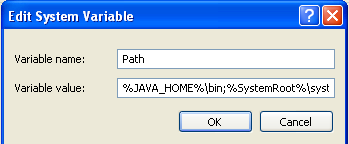 8. Enter JAVA_HOME as Variable name. 9. As Variable value enter the following. This should be the value you verified in earlier steps. C:\Progra~1\Java\jdk1.6.