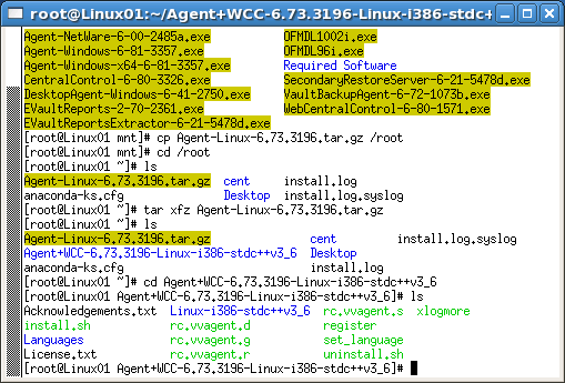 c. At the prompt, type: cd Agent+WCC-6.73.3196-Linux-i386-stdc++v3_6. This navigates us to that subfolder. d. At the prompt, type: ls. This displays the contents of this directory.