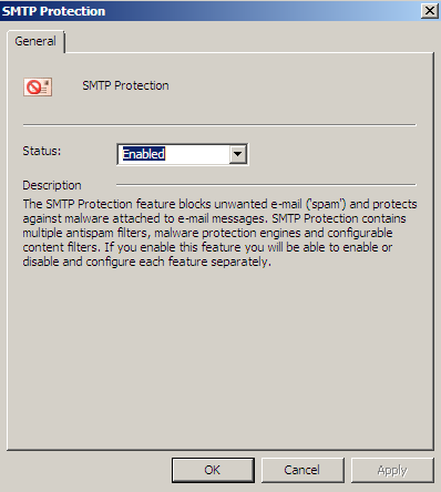 Figure 15: Filter custom words It is possible to activate or to deactivate the SMTP protection feature in the TMG console.