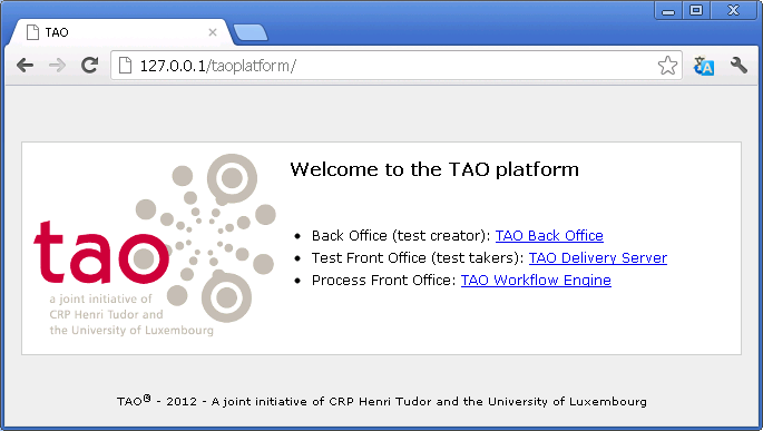 Figure p. Welcome page to TAO platform You can connect to TAO Back Office with the login and password of the super-user you have defined in the TAO Installation Process.