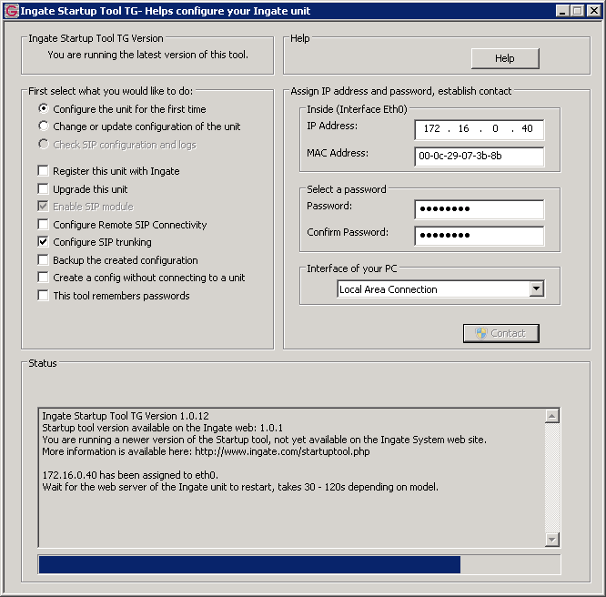 b. Choose Ingate Firewall/SIParator from the drop down list and click Next. c. In the next screen you must specify the MAC address of the LAN interface of the SIParator device.