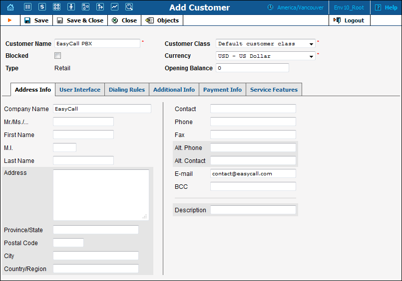 Create a Customer 1. In the Home page of the Reseller admin portal, choose Subcustomers. 2. On the Subcustomer Management page, click Add. 3. Fill in the Add Customer form. Not all tabs are required.