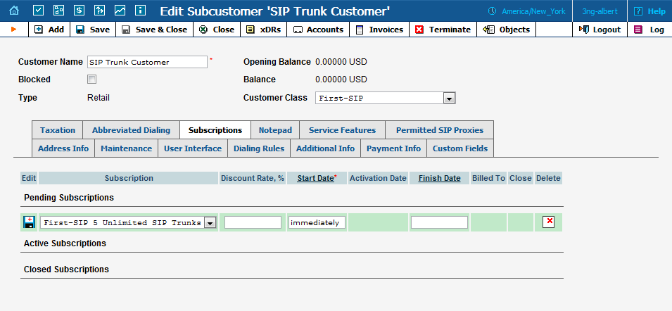 How To.. bill for the SIP Trunking service After you have created the main SIP Trunk and added any extra DID you need to start billing for the service.
