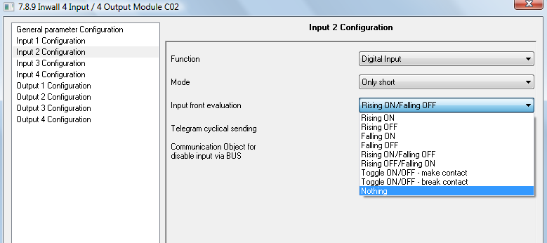 7. Digital Input Mode Only short Short + Long Through this parameter it s possible to configure an input channel to send a telegram with different