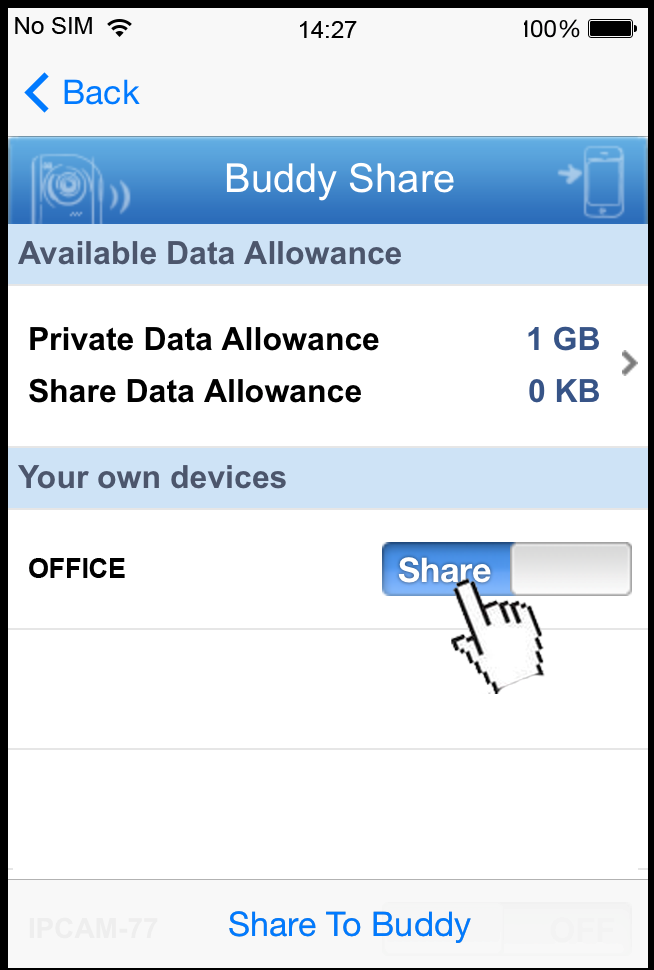A8.1.2 Checking Remaining Data Allowance Step1: Log into the cloud service. Step2: Select Details to go to account information, and select Available Data Allowance. A8.1.3 Sharing Cloud Device Access