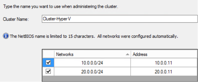 Under Address, in the line for 20.0.0.0/24 enter 20.0.0.11. This provides an IP Address for the cluster to use on the storage network.
