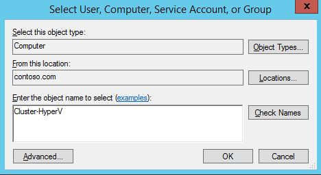 9. On the Permission Entry for Computers page, under Principal, click Select a principal. 10. Click the Object Types button. 11. Select Computers, and deselect the other options, then click OK. 12.