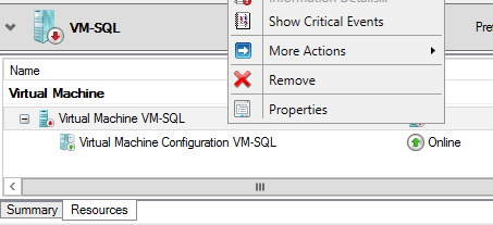 24. Select the [+] icon next to Virtual Machine VM-SQL to expand the view. 25. Right-click on the offline virtual machine Virtual Machine VM-SQL, and select Properties. 26. Select the Settings tab.