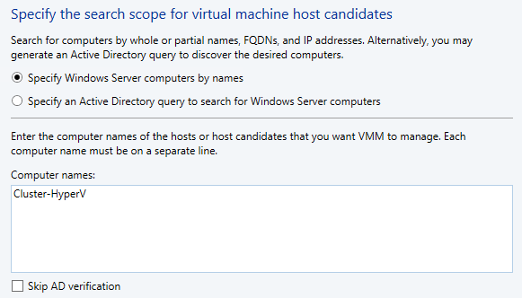 4. On the Resource location screen, accept the default Windows Server computers in a trusted Active Directory Domain and click Next. 5.