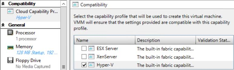 39. On the Configure Hardware page, under Compatibility select Hyper-V. 40. On the Configure Hardware page, select Availability under Advanced in the navigation pane. 41.