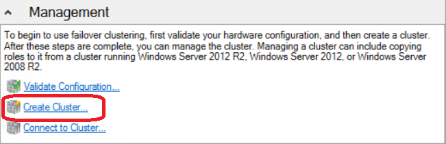 Exercise 2: Create a Cluster In this exercise a 2-node Windows Server 2012 R2 Hyper-V failover cluster is created using Failover Cluster Manager.