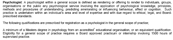 Psychologist Scope of Practice (under the