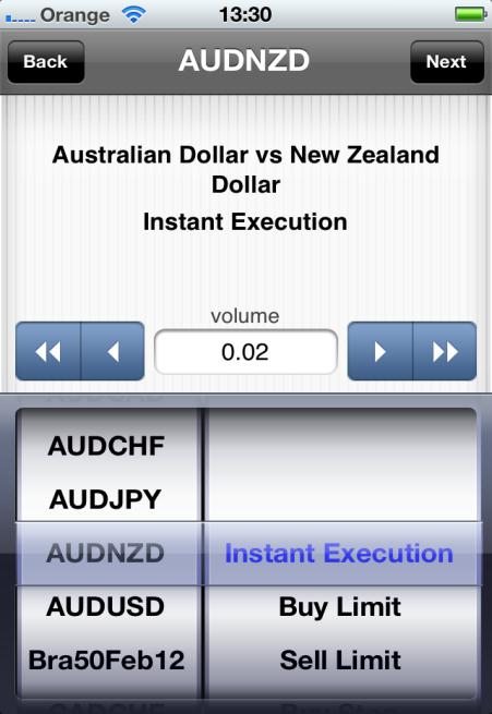 Tap on Trade and you will be redirected automatically to the order mask: Here you can choose the volume/