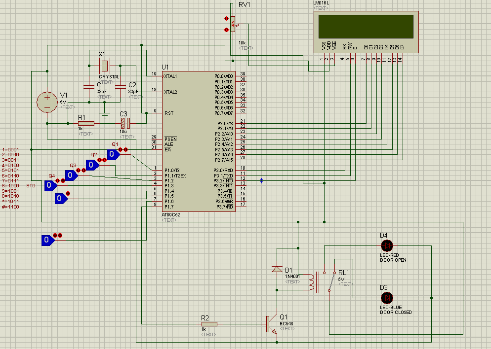 Fig. 2 Circuit Diagram of Cell Phone Controlled, Password Protected Door Locking System Digital information coming from DTMF decoder (Not shown in Circuit diagram) is fed to the microcontroller.