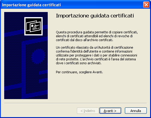 Choose a password to protect the certificate; you will be required to type that password later during installation of the certificate: Click next: Click on Scarica il certificato and