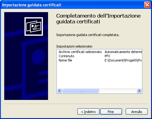 Click end: You will be required to install also the Certification