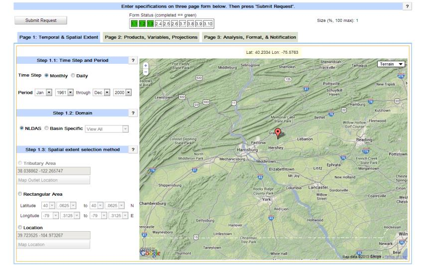 days Change in 1% precipitation events User selects their location on a map,